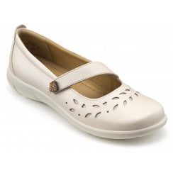 Peace Soft Beige Wide Fit Leather Flat Mary Jane Style Shoe