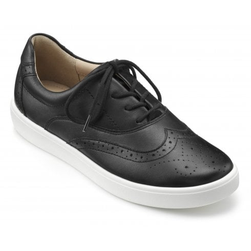 Hotter Piper Black Std Fit Leather Flat Brogue Style Shoe
