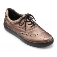 Piper Dark Rose Metallic Std Fit Leather Flat Lace Up Shoe