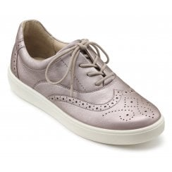 Piper Mauve Metallic Std Fit Leather Flat Brogue Style Shoe