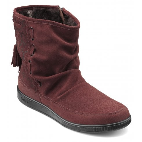 Hotter Pixie Std Fit Maroon Print Suede Flat Zip Up Boot