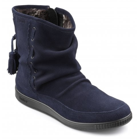 Hotter Pixie Std Fit Navy Suede Flat Zip Up Boot