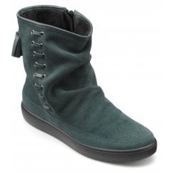 Pixie Wide Fit Forest Green Suede Flat Zip Up Boot