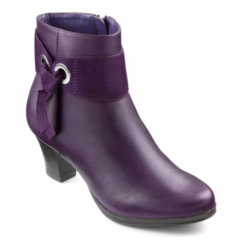 15dda72ea Hotter Purple leather heeled ankle boot with side zip - Hotter from ...