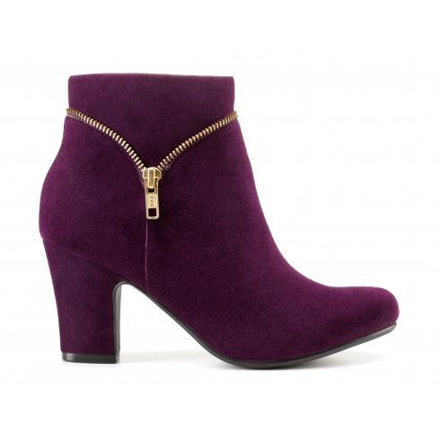 f0ed76065 Hotter purple plum suede leather heeled ankle boot with side zip ...
