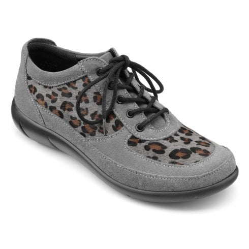 Hotter Raven Urban Grey Leopard Print Std Fit Suede Flat Lace Up Shoe