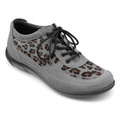 Raven Urban Grey Leopard Print Wide Fit Suede Flat Lace Up Shoe