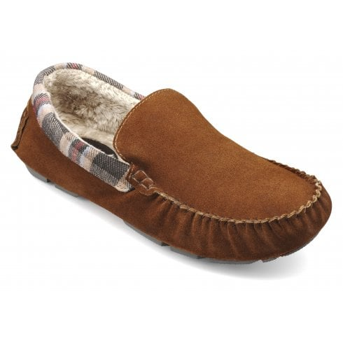 Hotter Recline Std Fit Dark Tan Suede Moccasin Style Slipper