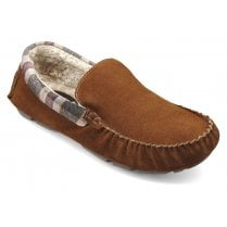 Recline Std Fit Dark Tan Suede Moccasin Style Slipper