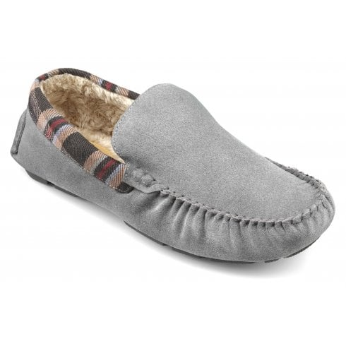 Hotter Recline Std Fit Grey Suede Moccasin Style Slipper