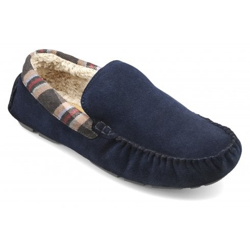 Hotter Recline Std Fit Navy Suede Moccasin Style Slipper