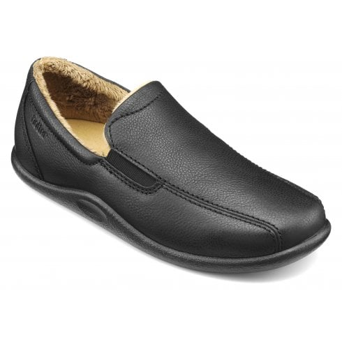 Hotter Relax Std Fit Black Leather Slipper