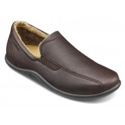 Relax Std Fit Dark Brown Leather Slipper