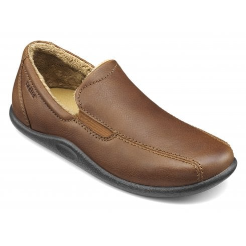 Hotter Relax Std Fit Dark tan Leather Slipper