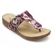 Resort Boysenberry Leopard Std Fit Leather Flat Slip On Sandal