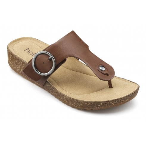 Hotter Resort Dark Tan Wide Fit Leather Flat Slip On Sandal