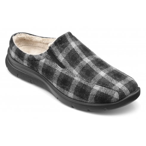 Hotter Rest Black Check Std Fit Mule Style Slipper