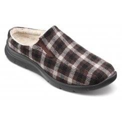 Rest Brown Check Std Fit Mule Style Slipper