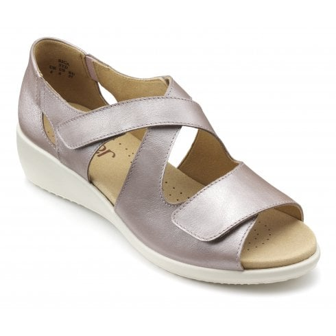 Hotter Riga Mauve Metallic Wide Fit Wedge Leather Velcro Fasten Sandal