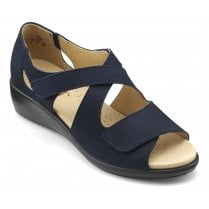 Riga Navy Std Fit Wedge Nubuck Velcro Fasten Sandal