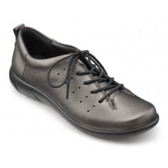 River Dark Pewter Wide Fit Flat Leather Lace Up Shoe