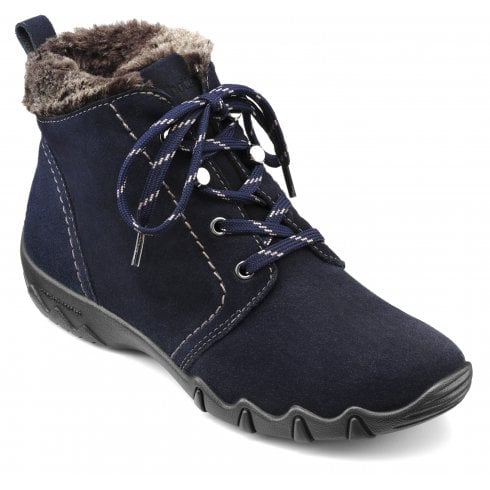 Hotter Ruby Wide Fit Navy Suede Flat Lace Up Ankle Boot