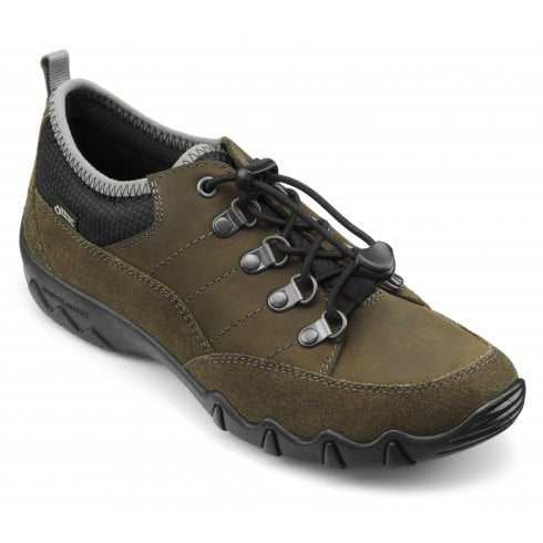 Hotter Rydal Std Fit Loden Green Gore-Tex/Nubuck Flat Walking Shoe