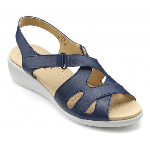 Hotter Salou Royal Blue Std Fit Leather Heeled Wedge Sandal.