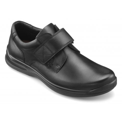 Hotter Sedgwick Std Fit Black Leather Velcro Fasten Shoe