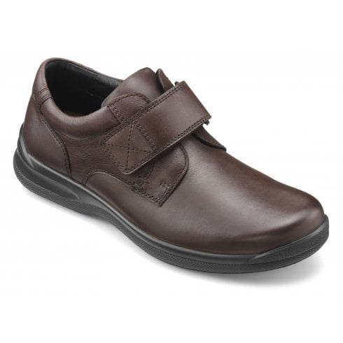 Hotter Sedgwick Std Fit Dark Brown Leather Velcro Fasten Shoe