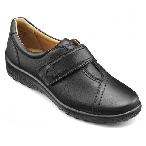 Hotter Shadow Std Fit Black Leather Flat Velcro Shoe