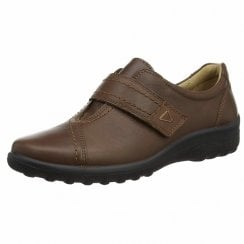 Shadow Std Fit Dark Tan Leather Flat Velcro Shoe