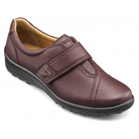 Hotter Shadow Wide Fit Maroon Leather Flat Velcro Shoe