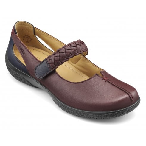 Hotter Shake Extra Wide/3E Fit Maroon/Navy Leather Flat Mary Jane Style Shoe