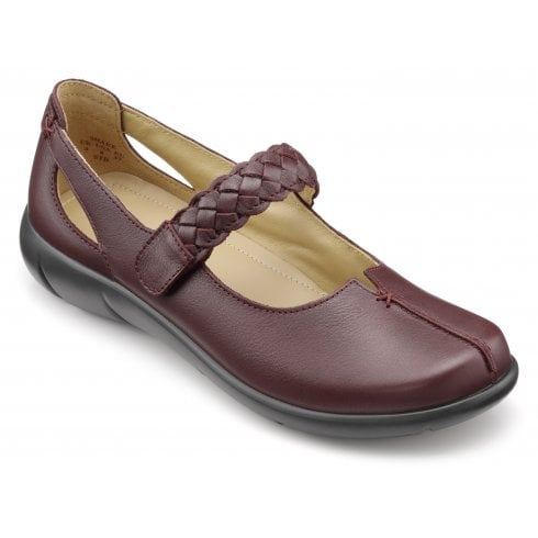 Hotter Shake Maroon Wide Fit Leather Flat Mary Jane Shoe