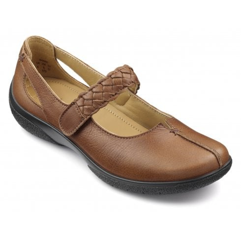 Hotter Shake Std Fit Dark Tan Leather Flat Mary Jane Style Shoe