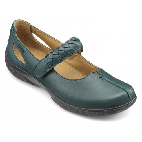Hotter Shake Std Fit Deep Teal Leather Flat Mary Jane Style Shoe