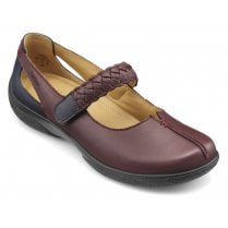 Shake Wide Fit Maroon/Navy Leather Flat Mary Jane Style Shoe