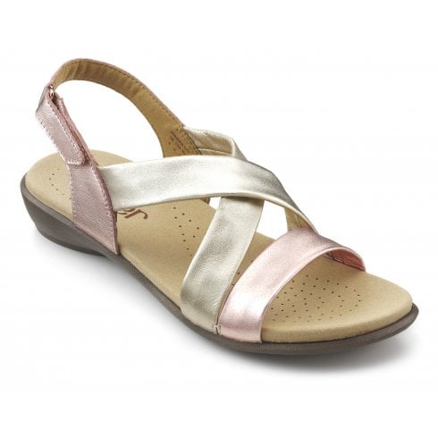 Hotter Shimmer Rose Gold Multi Std Fit Flat Leather Sandal