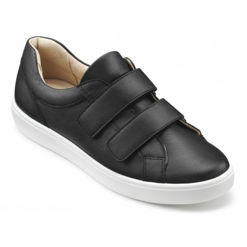 Hotter Skip Black Std Fit Leather Flat Twin Velcro Shoe