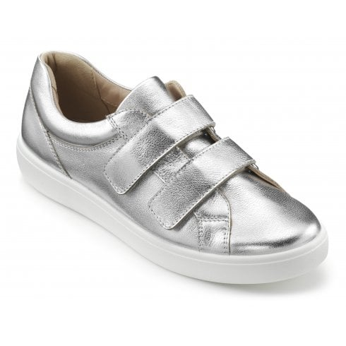 Hotter Skip Bright Silver Std Fit Leather Flat Twin Velcro Shoe