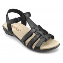 Sol Jet Black Multi Std Fit Leather Flat Gladiator Velcro Sandal