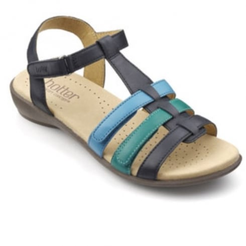 Hotter Sol Navy Multi Leather Wide Fit Sandal