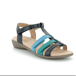 Sol Navy Multi Std Fit Leather Flat Gladiator Velcro Sandal