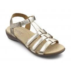 Sol Soft Gold Std Fit Leather Flat Gladiator Sandal