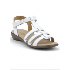 Sol White Std Fit Flat Leather Gladiator Velcro Sandal