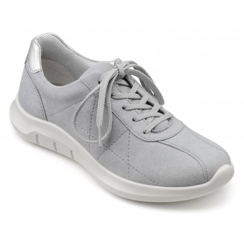 Hotter Solar Pebble Grey Std Fit Laced Trainer Style Shoe