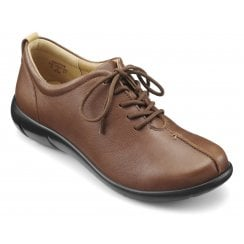Soothe Dark Tan Wide Fit Leather Flat Lace Up Shoe