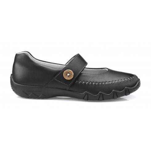 Hotter Spin Std Fit Black Leather Flat Mary Jane Style Shoe