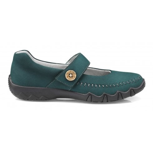 Hotter Spin Std Fit Deep Teal Nubuck Flat Mary Jane Style Shoe